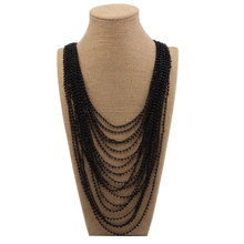 Beadsland Multiple layers glass pearls necklace  for Women crochet necklace Fashion Jewelry