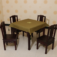 Square Linen Embroidered pattern waterproof oilproof and anti-heat army green table cloth( various size can be customized)