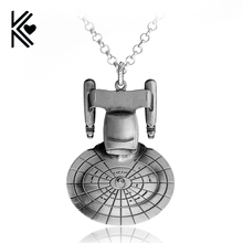 Hot Movie Star Wars Star Trek Enterprise Model Pendant Spacecraft Necklace Metal Pendant Necklace For Men Jewelry Free Shipping(China)