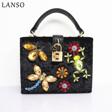 LANSO Retro Vintage Italian Style Velvet Inlaid Diamond Frog Dragonfly Handbags Lock Evening Bags Women Party Purse Wedding Bag