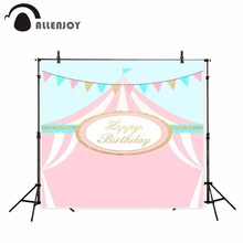 Allenjoy photography background pink circus tent theme Birthday party background stripes printed photobooth camera fotografica