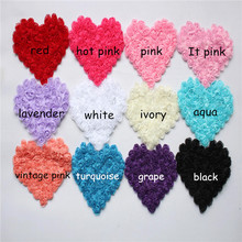 50pcs/lot large 4.75inch Shabby Flower Heart Headbands flower Valentine's Day ,in stock rose trim chiffon flowers appliques