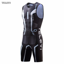 TELEYI Team Summer Outdoor Ciclismo Breathable Men One Piece Compressed Cycling Jersey Professional Triathlon Clothes Sportswear