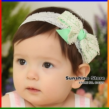 head band white lace headband elastic ;2015 baby hair acessories white bow bowknot korean accessories  #2B2162 10pcs/lot(GREEN)
