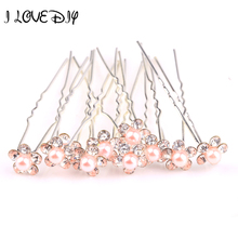 New Coming Sliver Plated Metal Pink Rose Crystal Rhinestone Pearl Hair Pins in Hair Jewelry 10pcs/a lot Free Shipping