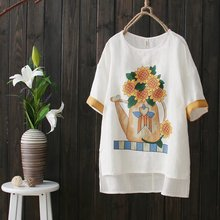 Japanese Sen Female Line Retro Summer Sunflower Printing Loose Big Yards Short Sleeve T-shirt Cotton Pullover Shirt Female