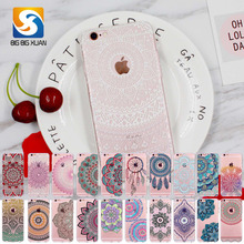 2017 New Phone Case Cover For iPhone 6 6S Soft Silicon Black Colorful Hollow transparent HENNA OJIBWE DREAM CATCHER Ethnic Triba(China)