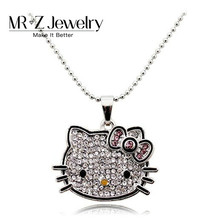 Promotion Sales Full Rhinestone Hello Kitty Necklace Cat Necklaces Fashion Jewelry 2017 10pcs/lot Free Shipping