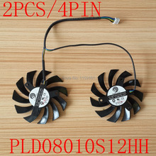 Free shipping POWER LOGIC PLD08010S12HH DC12V 0.35A 4pin Dual Fan MSI 460GTX 560GTX 570GTX 580GTX R6790 R6870 R6850HAWK fan(China)