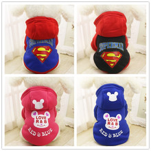 Superman Dog Coat Cat Puppy Pet Clothes Cute Bear Costume Warm Autumn Yorkie Chihuahua Hoodie Dog Clothes(China)