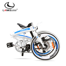 "LANKELEISI folding bicycles/ 20"" bmx bike disc brakes foldable bike male and female bicycle"