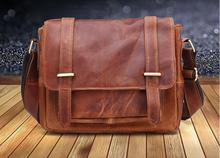 new arrival genine leather men's briefcase vintage messenger bag one shoulder cross body bag first layer cowhide leather bag