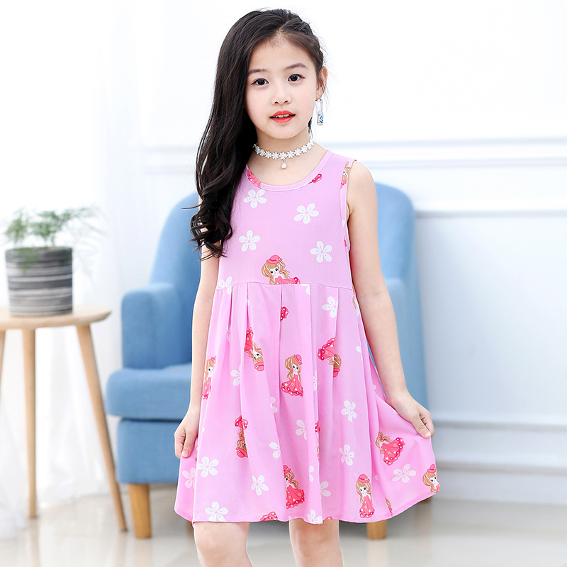 18 New Casual Dress Summer Style Sleeveless Cartoon printed pure cotton for Girls Dress 3-10 Years Children Clothing 5
