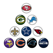 New ZB0388 mixed 10pcs NCAA team logo 18mm/20mm/25mm glass cabochon & snap buttons for DIY jewelry(China)