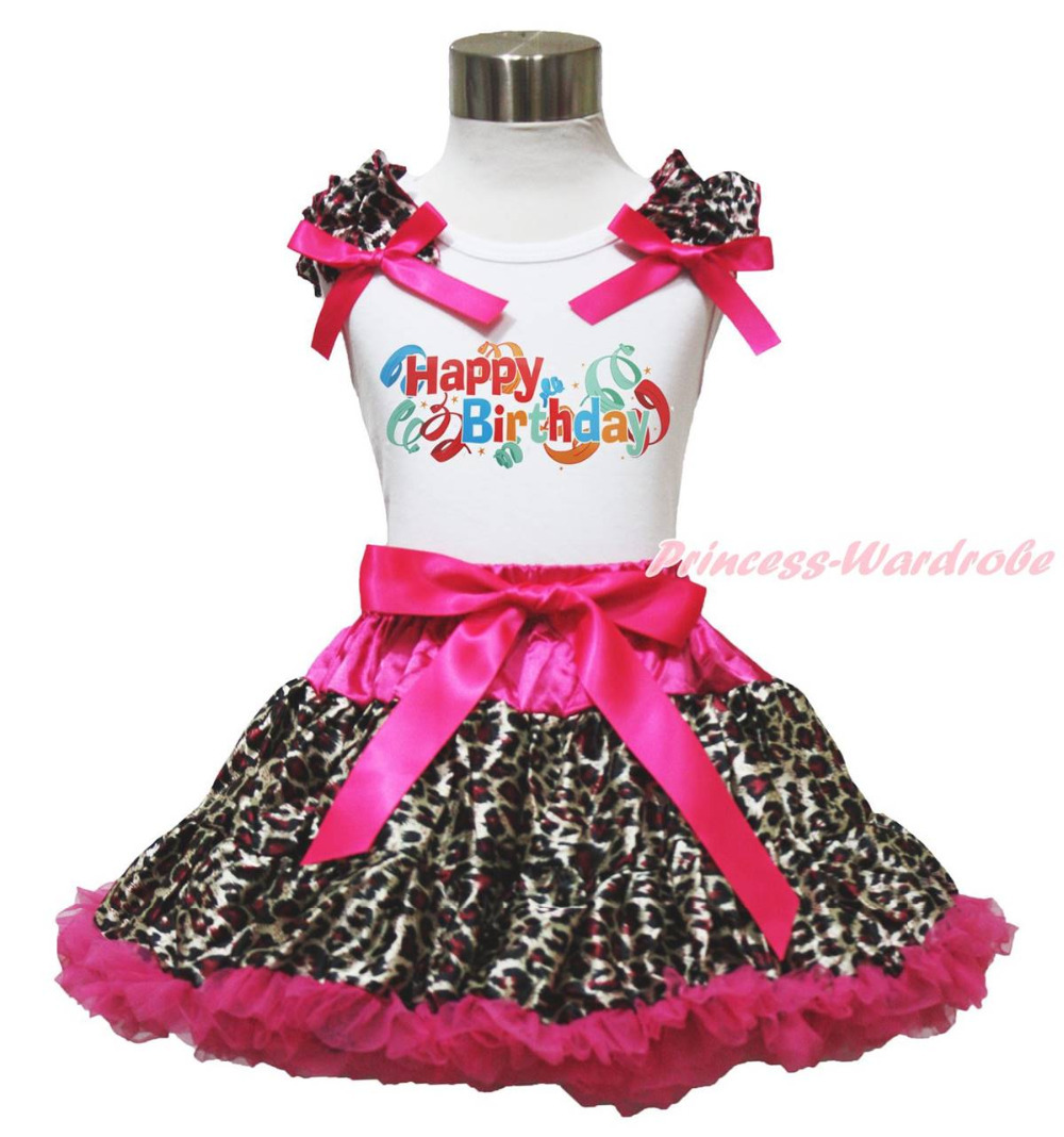Happy Birthday Balloon White Top Hot Pink Leopard Skirt Girls Cloth Outfit 1-8Y MAPSA0784<br>