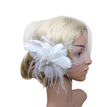 Women Feather Net and Veil Hat Hair Clip Headdress Headwear HairPins for Wedding Party Dress Decoration White