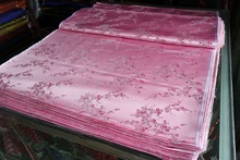silk brocade fabric chinese traditional light pink back with pink and white plum flowers pattern woven(China)