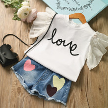 Summer baby Girls Clothing set flying sleeve letters T shirt + love Heart denim shorts 2 pieces Clothes suits(China)