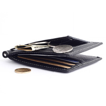 fashion Mini Money clips Men Genuine Leather Pocket zipper clamp Slim Credit Card Bag Holder for coin Multi-card bit wallet(China)