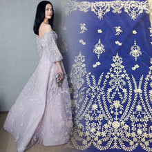 unique and High quality David-51433 french lace fabric nice looking white African guipure lace fabric for wedding