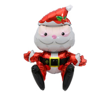 New Year Sitting Santa Claus Foil Balloon Lovely Printed Christmas Mylar Balloon for Merry Christmas Party Decoration(China)