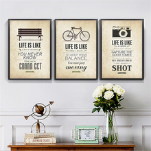 Positive Life Quotes Art Poster Nordic Bicycle Camera Pattern Wall Painting Canvas Mural Paper Ornament for Study Office Bedroom
