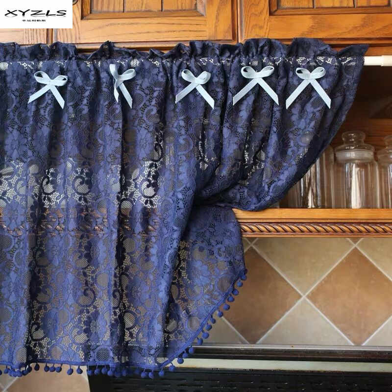 Short Curtain For Kitchen Door Half Curtains Vintage Blue Polyester Cotton Lace Hollow-Out Thin Cortinas Home Decor