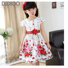 Summer Girls Dresses DIDIOO Cotton Brand Children Clothing Floral Print A-Line Princess Dress Girl Cute Baby Clothes For Girls(China)