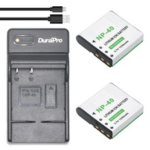 2Pcs NP-40 Li-ion Battery+Ultra Slim USB Digital Charger for Casio EX-Z400 FC100 FC150 FC160S P505 P600 P700 Z300 Z600 EX-Z850