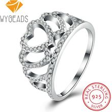 WYBEADS 925 Sterling Silver Hearts Tiara Rings With Clear CZ Finger Ring For Women Wedding Engagement Party Fashion Jewelry