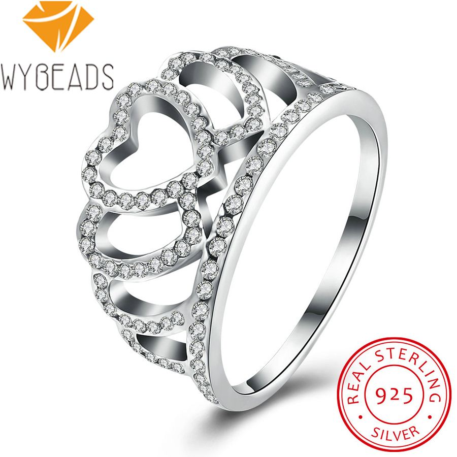 WYBEADS 925 Sterling Silver Hearts Tiara Rings With Clear CZ Finger Ring For Women Wedding Engagement Party Fashion Jewelry(China (Mainland))