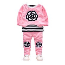 BibiCola Baby Girl Clothing Sets Spring/Autumn Bebe Sport Warm Clothes Toddler Girls T-shirt+Pants Little Girl Tracksuit Set(China)