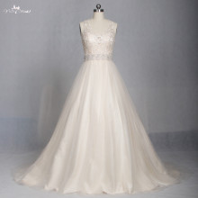 LZ174 Alibaba Champagne Scoop Lace Fabric Vestido De Noiva Chiffon A Line Wedding Dress Crystal Wedding Dresses