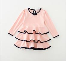 Promotion Cotton Ruffles Long Sleeve Dresses For Girls Princess, Children Baby Cute Dress  5 pcs/lot, Wholesale