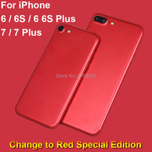 For Apple iPhone 6 6S 7 Plus Full Back Simulation Metal Red Special Edition Decal Sticker Case Ice Cover Screen Protector Film
