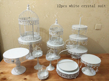 12pcs  cupcake bakeware set cake stand set cake barware decorating tools with crystal