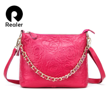 REALER brand genuine leather messenger bags for women floral embossed handbag with a chain, small shoulder bag pink