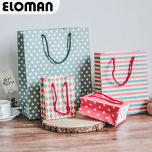 ELOMAN Paper Candy gift bag for wedding birthday Party star strip dot bag Stand up Favor Open Top(China)