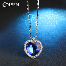 COLSEN Ocean Heart Women's New Fashion Pendant romantic jewelry luxury imitation gemstone necklace blue red bijoux supply girl