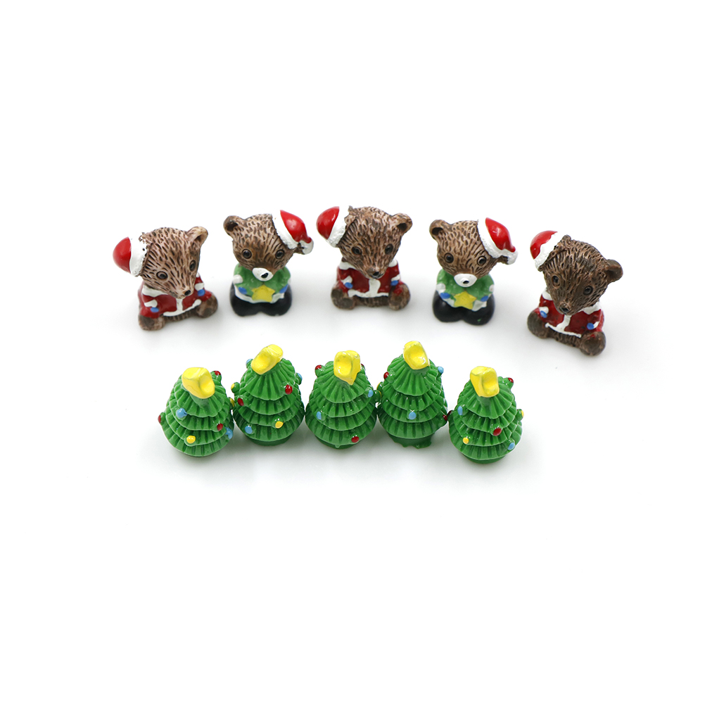 5pcs Bear/ Trees Figures Miniature/Fairy Garden Figurine Dolls House Kids Toys DIY Micro Landscape Accessories Resin Christmas