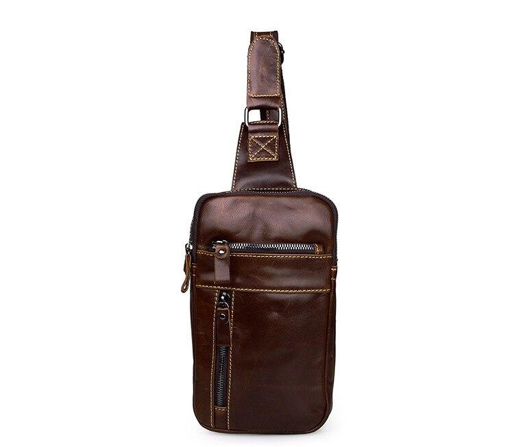 High Quality Men Vintage Genuine Leather Chest Bag Vintage Oil Wax Leather Shoulder Messenger Bag Male Sling Chest Bag 5002<br>
