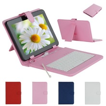 For 9 Inches Tablet PC Fashion Faux Leather Case with Mini Micro USB Keyboard + Stylus Pen