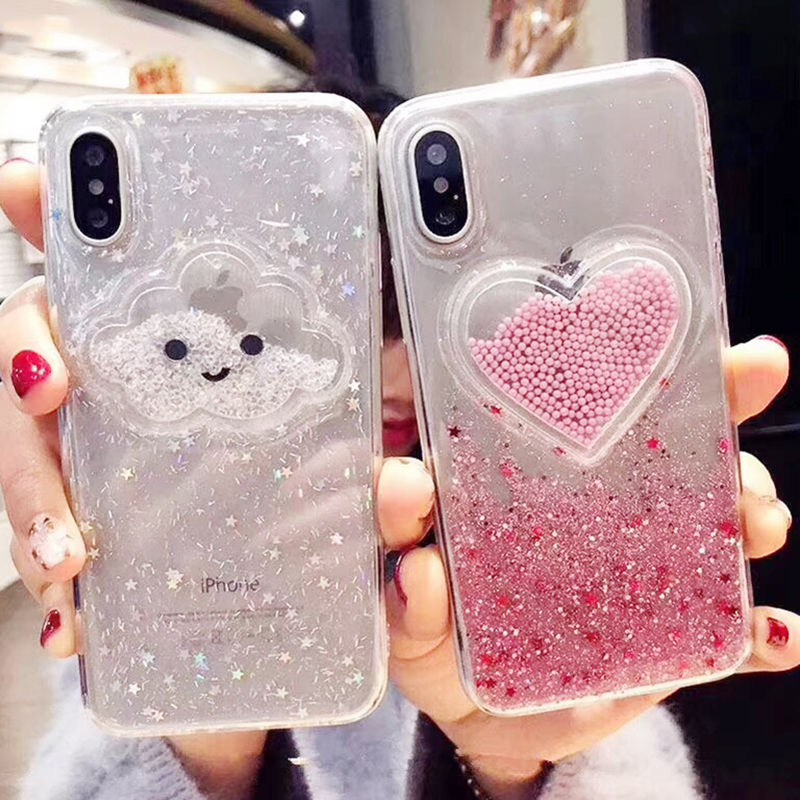 Liquid Heart Glitter Powder Smile Face Clouds Phone Cases For iPhone X XR XS Max 6 6S 7 8 Plus Ice Cream Soft Dynamic Back Cover(China)