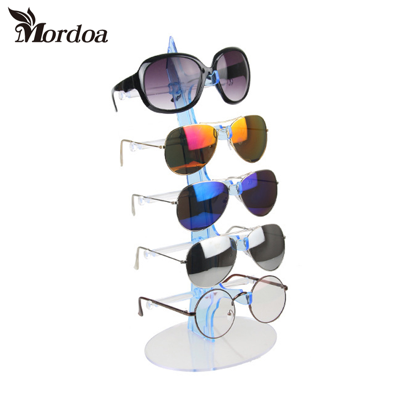 2017 Fashion Plastic 5 Pairs Sunglasses Glasses Show Rack Counter Display Stand Holder Clear Sale jewelry display Free Shipping(China (Mainland))