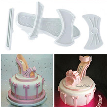 Brand New Shape 9pcs/set Plastic Sandal Fondant Mold Lady High-Heeled Shoe Cake Baking Mould Hot