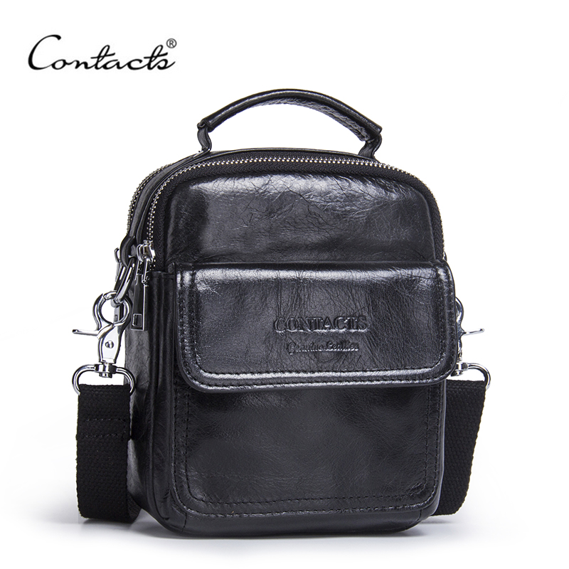 2017 New Design CONTACTS Men Bags Male Shoulder Bag Famous Brand Genuine Leather Messenger Bag Small Brand Fashion Handbags<br>