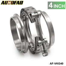 "AUTOFAB - 4"" Exhaust Stainless Universal V-Band Clamp and Flange Kit VBand / V Band AF-VKG40"