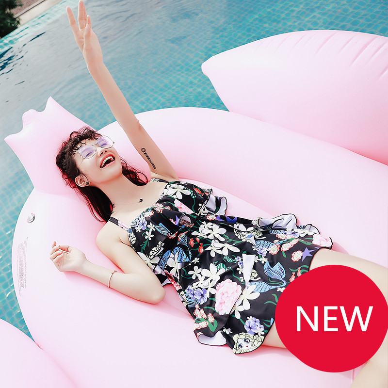 Girls Swimsuit Women Swimwear Flouncing Swim Beach Wear One-Piece Skirt Slip Dress Bathing Suits Female Flower Mermaid Pattern<br>