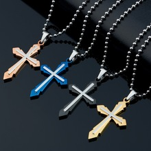 2017 Fashion Brand Stainless Steel Rose Gold Color Cross Love Pendant Necklace Women Man Party Gift