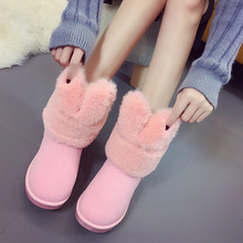 Snow Boots Women Female Warm Shoes Winter Women's Boots Rabbit Ear Thickening Cotton Shoes Woman Casual Flats Short Boots